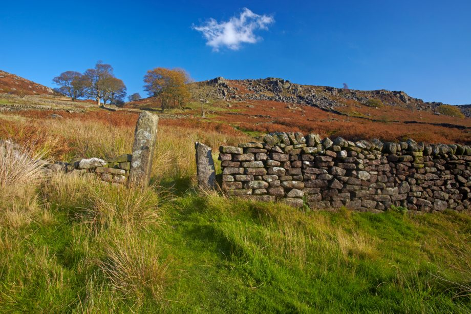 Path through drystone wall leading up to the gritstone escarpment of Baslow Edge above the village of Curbar in the Peak Distric