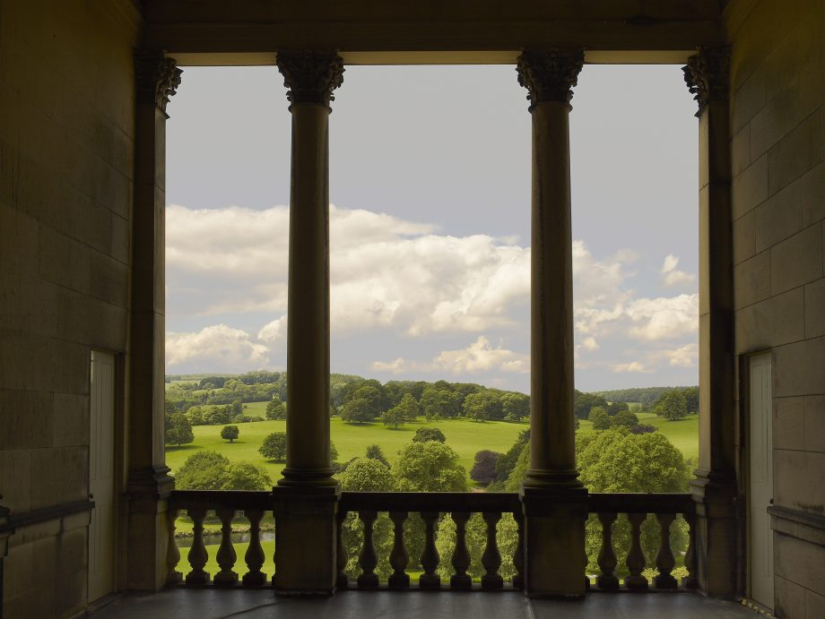 2011 — The view from the theatre tower (belvedere) at Chatsworth House. The surroundng park was landscaped for the 4th Duke of Devonshire by Capability Brown. ©Paul Barker/Country Life