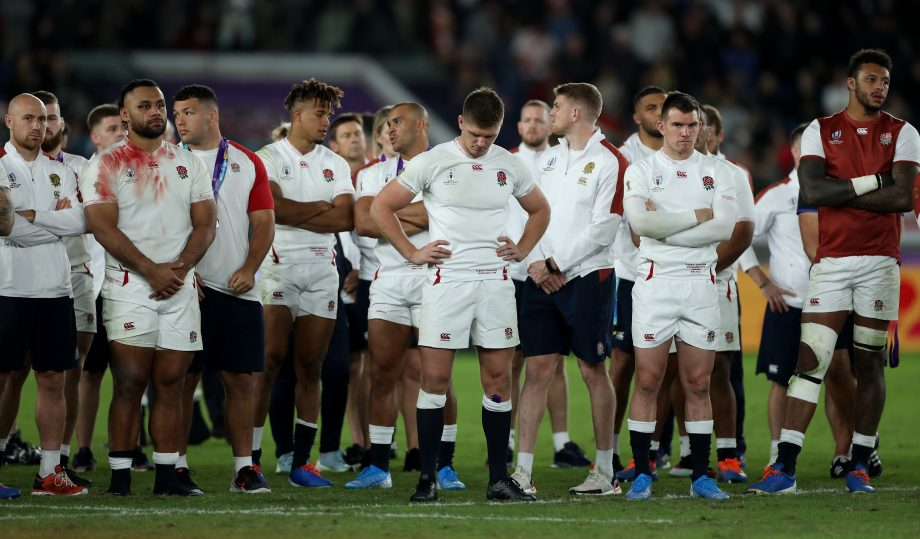The England look dejected after their defeat during the Rugby World Cup 2019 Final between England and South Africa at International Stadium Yokohama on November 02, 2019 in Yokohama.