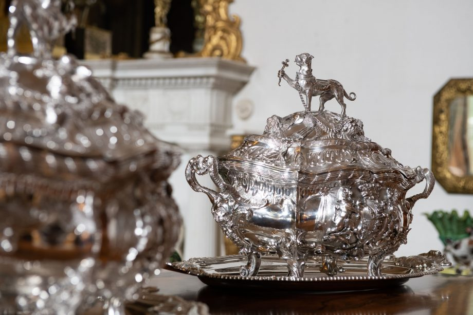Silver soup tureens by Frederick Kandler, London, 1752-53. Taken on location at Ickworth House, Suffolk.