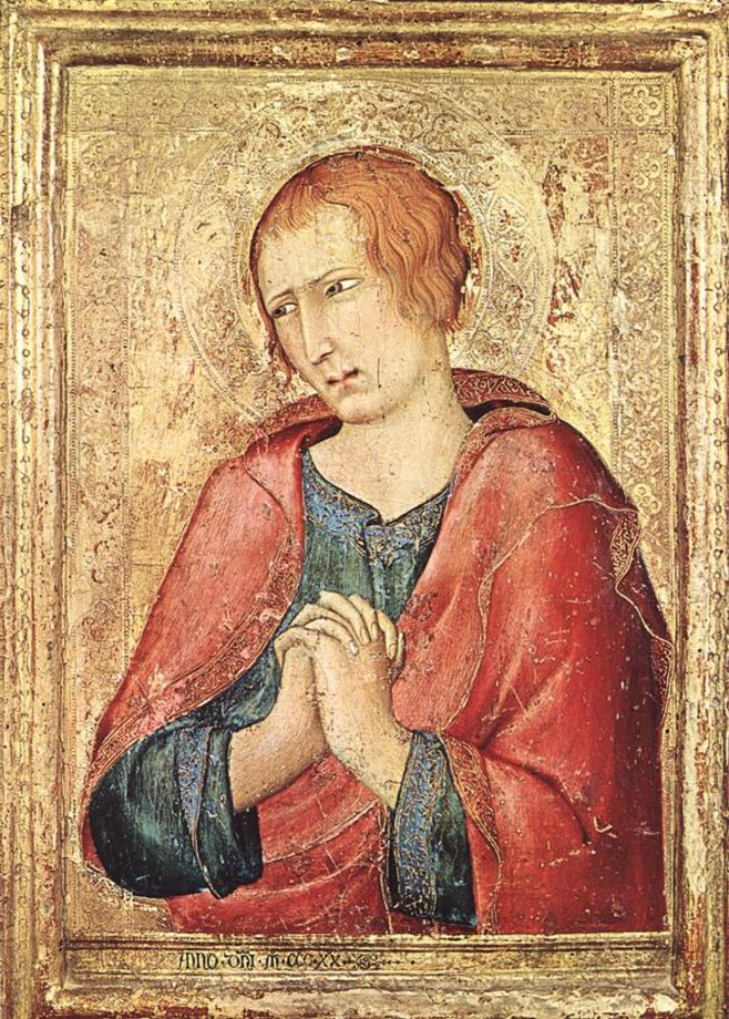 St John the Evangelist, 1320, 16½in by 12in, by Simone Martini (about 1284–1344), Barber Institute of Fine Arts, Birmingham