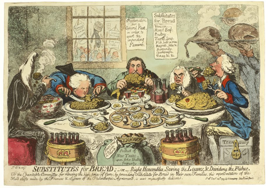 'Substitutions for bread; -or, right Honorables, saving the loaves and dividing the fishes.' By James Gillray (British, 1757-1815). This etching, hand coloured in this example, was published on December 24th 1795.