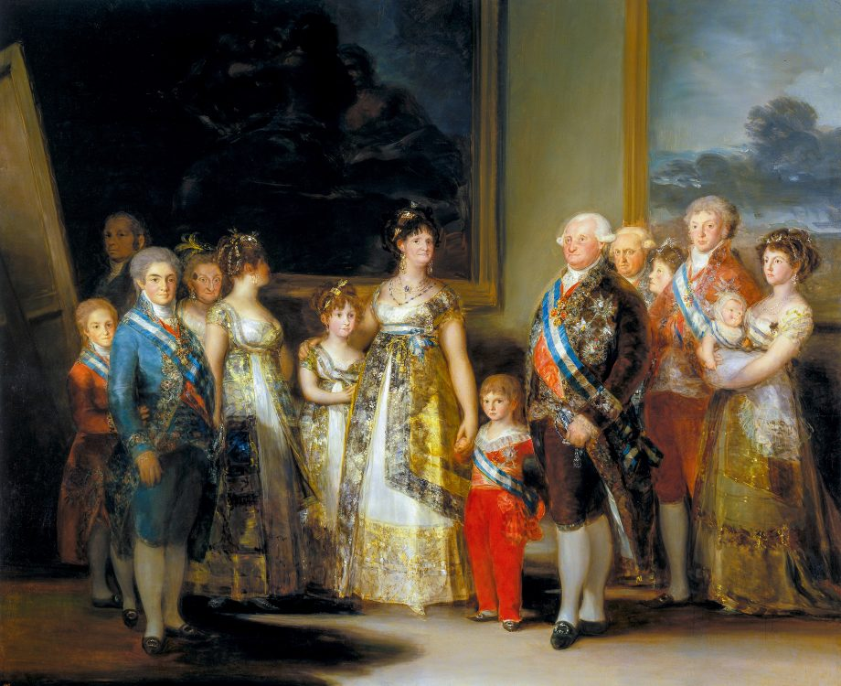 Charles IV of Spain and His Family, 1800–01, 9ft 2in by 11ft, by Francisco Goya (1746–1828), Prado, Madrid, Spain