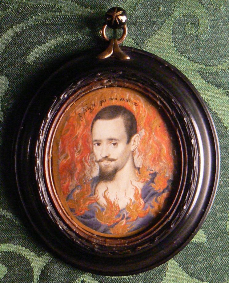 Portrait miniature, tempera on vellum stuck to card extended by another piece of card glued to support the back, presumably to fit the miniature into its frame (oval), A Man consumed by Flames by Isaac Oliver (Rouen c.1565 ? London 1617). Inscribed above his head: Alget qui non ardet (he becomes cold who does not burn). Apparently was written on the back: Earl of Leicester, but Horace Walpole wrote: