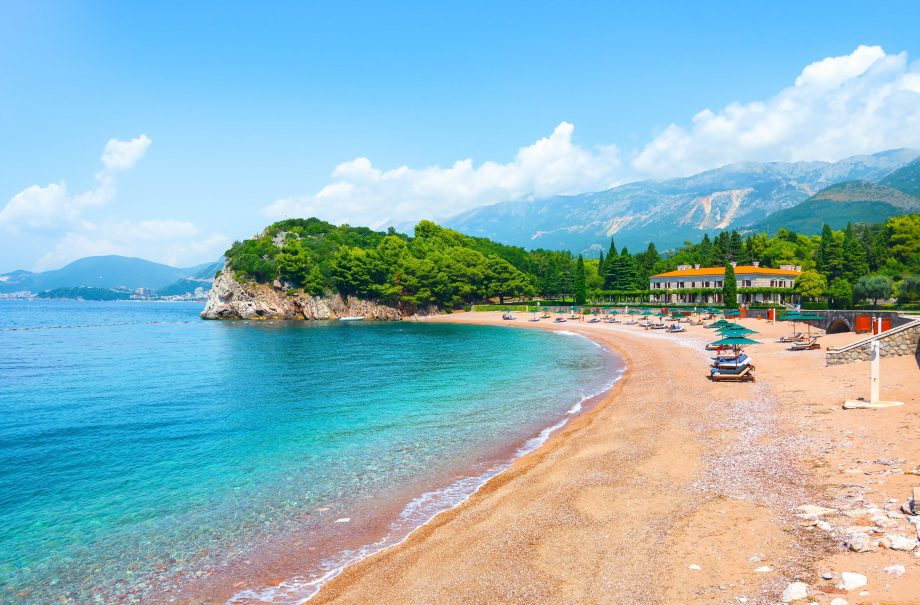 2AB94JX Adriatic sea coast, Milocer queens beach, Sveti Stefan, Montenegro.