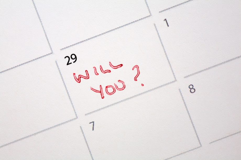 29th February leap year with message Will you? written on calendar