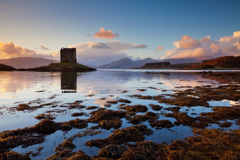 The dramatic silhouette of Castle Stalker, Port Appin.