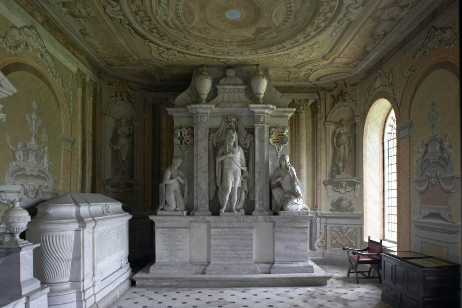 The marble tomb of the 1st Duke of Chandos by Grinling Gibbons in the Church of St Lawrence.