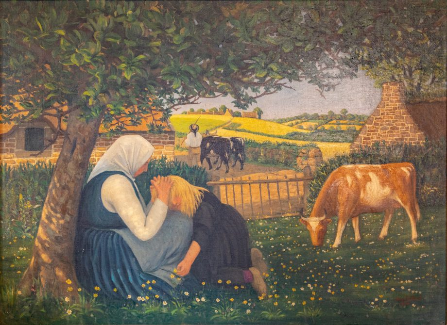 Sarah Raven's Favourite Painting, Jean Frelaut Breton Scene, photographed at her home in Kent in February 2020 by Daniel Gould.