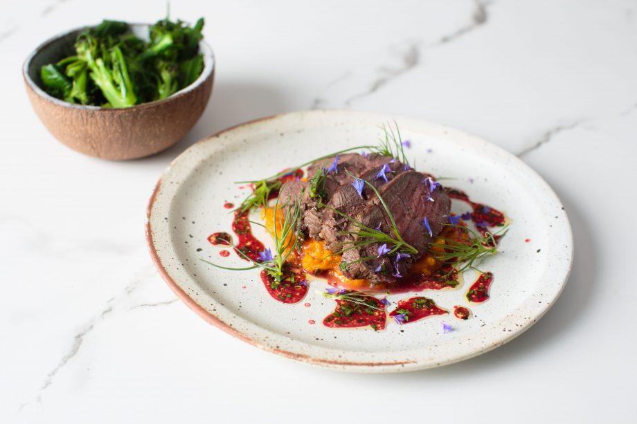 Sloe-glazed venison loin with squash puree