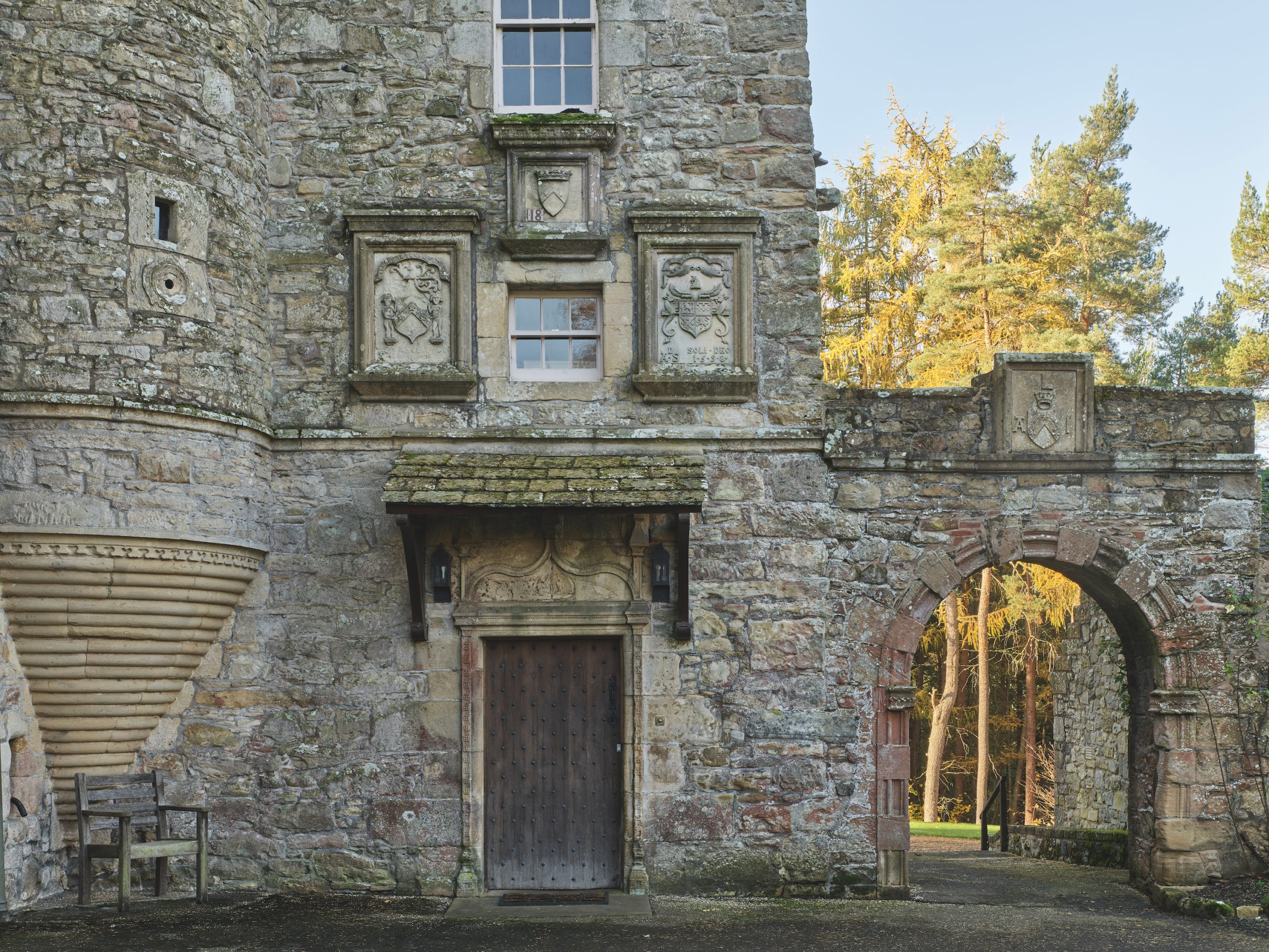 Ferniehirst Castle, tower and stair turret