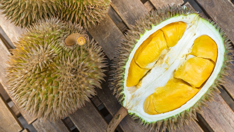 High angle view of Durian fruit
