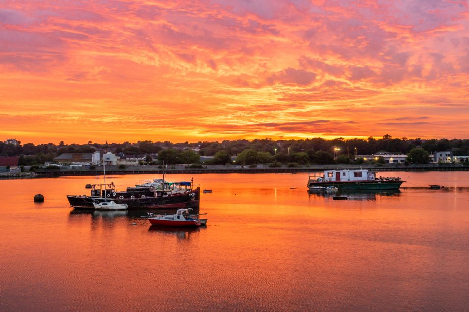 Spectacular golden sunset over Itchen River in Northam, Southampton, England, UK