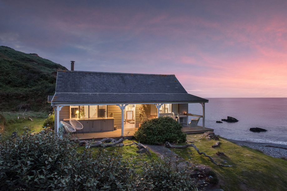 The Beach Hut in Millook at sunset