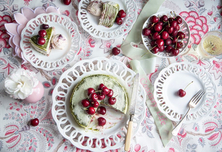 Matcha and cherry mille crêpe cake with no-churn cherry ice cream