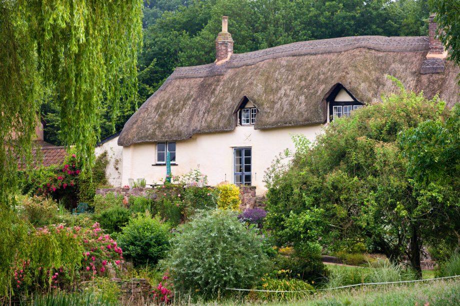 Pretty thatched cottage near Crediton, Devon, England. Summer (July) 2009