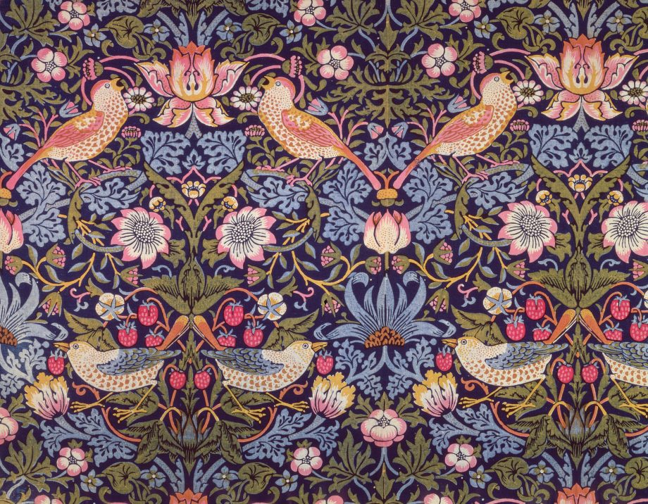'The Strawberry Thief' textile designed by William Morris (1834-96) 1883 (printed cotton) by Morris, William (1834-96); Private Collection; English, out of copyright.
