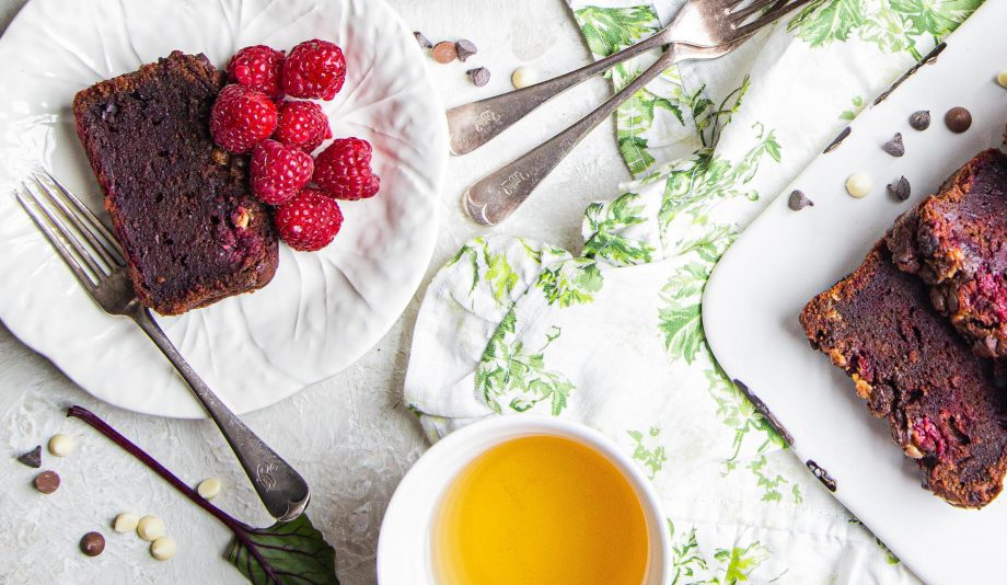 Beetroot and Chocolate Loaf with raspberries