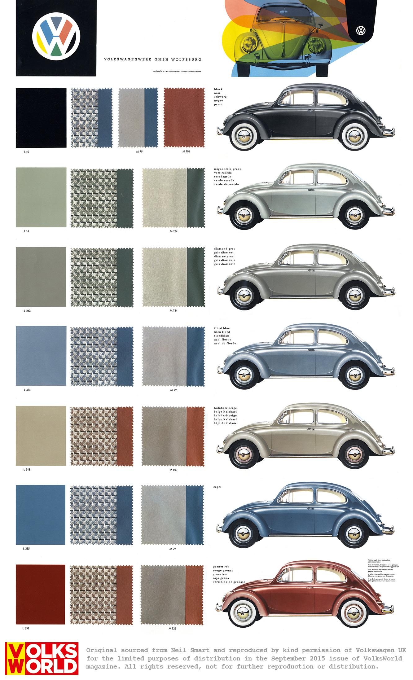 Vw Beetle Colour Charts Volksworld